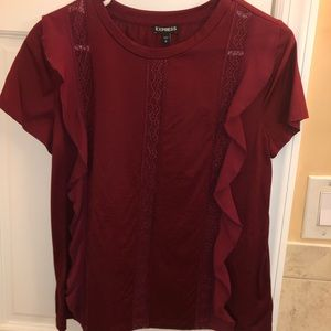 Express Maroon Lace/Ruffle Detail Blouse